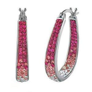 🎀• 18k White Gold Swarovski Crystal Hoop Earrings